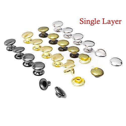 100set 7mm ronde dubbele klinknagelbotsing nagel spijker zak riem kledingstuk armband metaal voor DIY Leathercraft schoenen, zilver