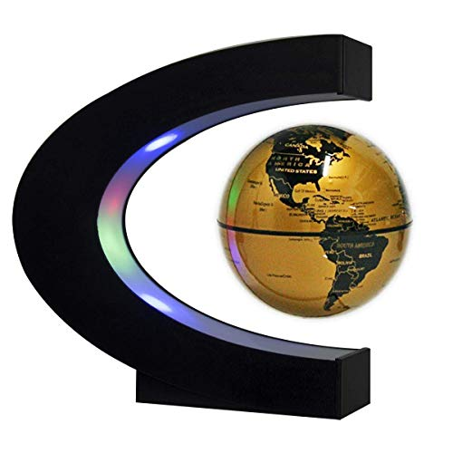 Floating Globe with LED Lights C Shape Magnetic Levitation Floating Globe World Map for Desk Decoration (Gold)