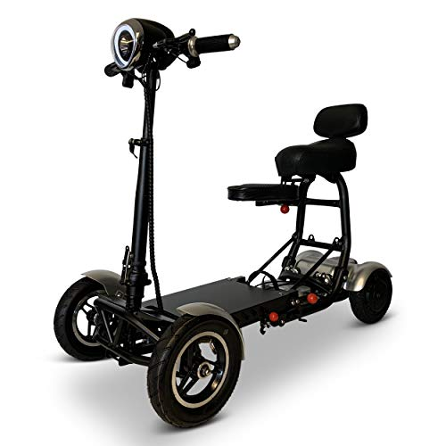 Fold and Travel Mobility Scooters for Adults 4 Wheel Long Range Mobility Scooter Electric Wheelchair Power (Silver)