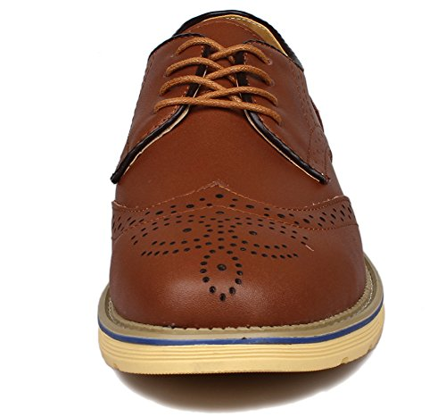 PhiFA Men's Leather Brogue Oxford Shoes Lace Up US Size 9 Brown