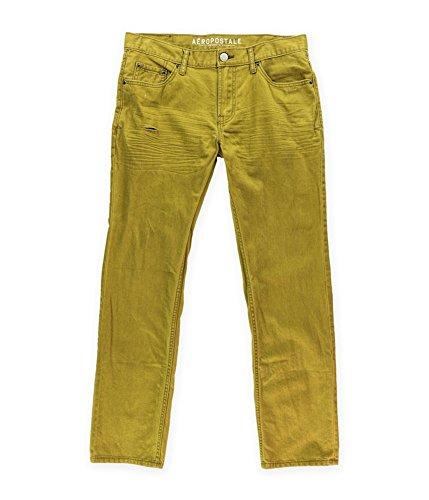 Aeropostale Mens Slim Straight Leg Jeans, Brown, 30W x 32L