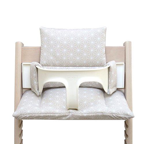 Blausberg Baby - BESCHICHTET - hochwertiges Tripp Trapp Sitz-Kissen Set für Stokke Hochstuhl - 2-teilige Auflage/Polster/Sitzverkleinerer für Kinderhochstuhl – DIVERSE FARBEN (Happy Star Beige)