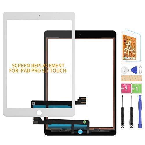 Kit de piezas de repuesto para iPad Pro 9.7 2016 de pantalla táctil de repuesto, para A1673 A1674 A1675 panel de pantalla táctil, con (no LCD, sin botón de inicio) (negro)