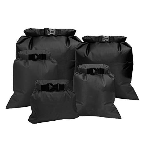 kuou 5 Pack Black WaterProof Dry bags, Lightweight Dry Sacks Set Floating Dry Sacks Black Drifting bags...