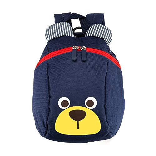 Zaino per bambini,TEAMEN Anti Verloren zaino per bambini, Mini Orsetto scuola borsa per bambini, ragazzi ragazze bambini 1 – 3 anni(Blu scuro)