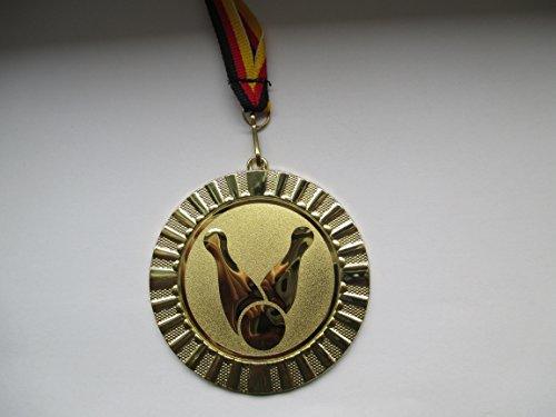 Fanshop Lünen Medaillen - Große Metall 70mm, Kegeln - mit Emblem 50mm - (Gold) - Medaille - mit Medaillen-Band - (e107) -