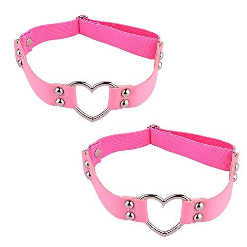 Verstellbare sexy Elastizität Bein Geschirr Strumpfband Gürtel Punk Gothic Oberschenkel Ring Strumpfband mit Metallclip -  Pink -  Einheitsgröße