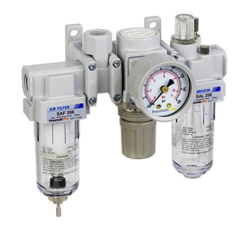 PneumaticPlus SAU200A-N02G - Dual Air System 1/4' NPT - Air Filter, Regulator & Lubricator w/Additional Free Air Port 1/4' NPT - Manual Drain, Poly Bowl, Gauge