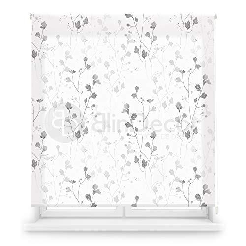 Blindecor Estor Enrollable translúcido Digital, Polyester, Blanco (Flores), 150 X 180 cm