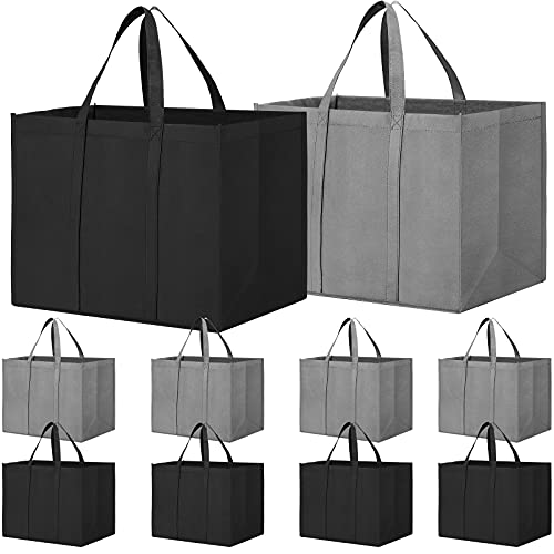 WISELIFE Reusable Grocery Shopping Bags 10 Pack Large Foldable Tote Bags Bulk, Eco Produce Bags with...