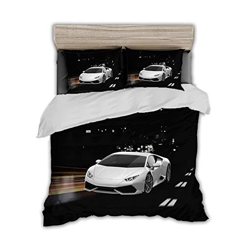 Rennwagen Rennauto 3D Print Betten Set Racing Car Bettwäsche Set Microfaser Himmlische Qualität Luxus Modern Bettbezug mit 1 Kissenbezug 2 teilig 135x200 cm + 80x80 cm Jungen Kinder