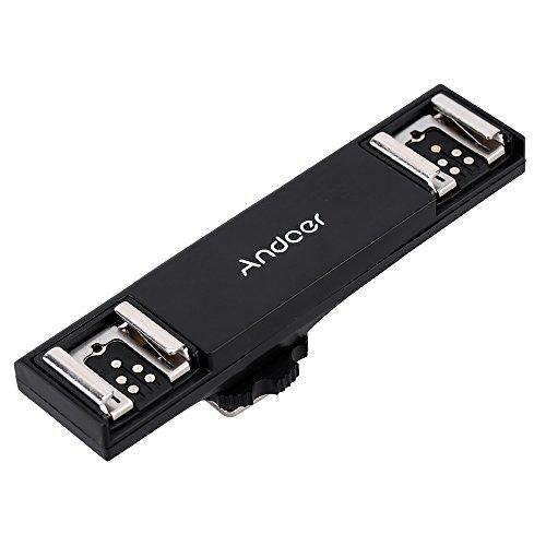 Andoer doble zapata Flash Speedlite luz soporte separador para Canon 7DII 70D 5DR 5p 5DIII 6D DSLR cámara videocámara