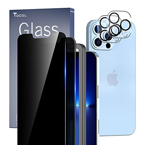 TOCOL [2+2 Pack Compatible with iPhone 13 Pro Max 6.7'' - 2 Pack Privacy Tempered Glass Screen Protector & 2 Pack Camera Lens Protector, Bubble Free, Case Friendly, Installation Frame, [Anti-Spy]