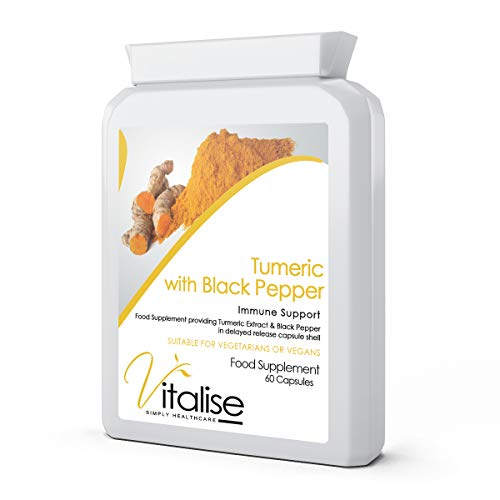 Tumeric with Black Pepper Supplement aids Support Immune System Liver Function and Joints