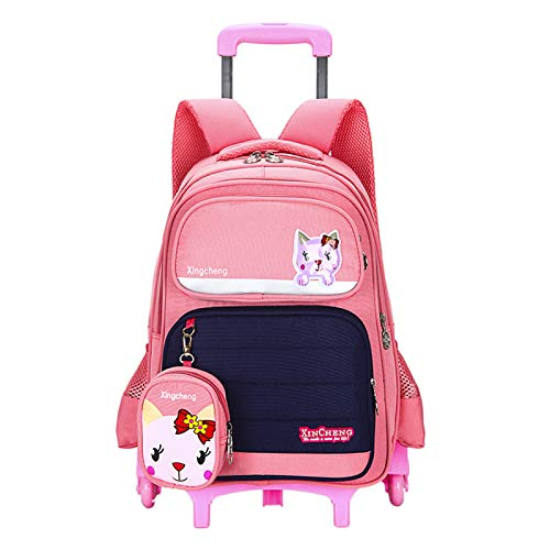 LHY EQUIPMENT Trolley Backpack for Kids, Trolley Rolling Bag with Coin Purse Reflective Strip Design Multi-Compartment Large Capacity Waterproof Detachable Wheeled Backpack,Pink