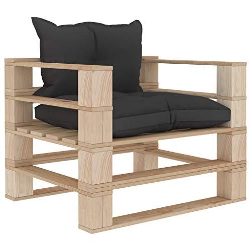 vidaXL Holz Garten Palettensofa mit schwarzen Kissen Palettenkissen Palettenmöbel Gartensofa Lounge Gartenmöbel Sofa Sessel Palettensessel
