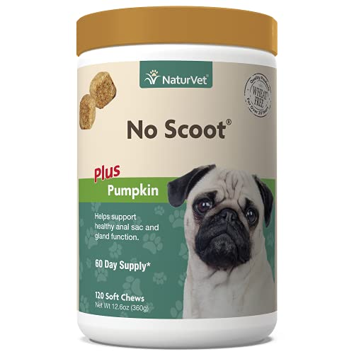 NaturVet - No Scoot for Dogs - 120 Soft Chews - Plus Pumpkin - Supports Healthy Anal Gland & Bowel Function - Enhanced with Beet Pulp & Psyllium Husk