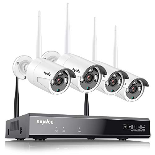 SANNCE Kit de Vigilancia Inalámbrica 8CH NVR 1080P H.264 CCTV sin Disco Duro de Videovigilancia + 4 1080P Cámaras Sistema de Seguridad WiFi - sin HDD