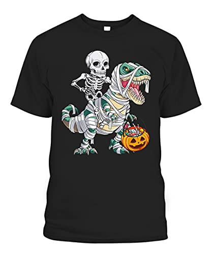 Halloween Gift For Gag Gifts For Men Women Him Her Skeleton Riding Dinosaur Pumpkin Skull Threeasaurus Mama Saurus Mommysaurus Pregasaurus Nanasaurus Blouse Top Tees T Shirts