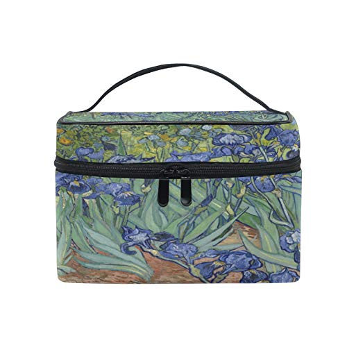 Lihuaval - Bolsa de maquillaje de acuarela para Van Gogh Iris, bolsa de maquillaje de viaje, bolsa de cosméticos portátil, bolsa de aseo para mujeres y niñas