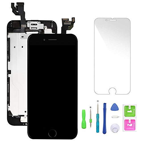 Compatible with iPhone 6 Screen Replacement Black,LCD Display Touch Screen Digitizer Frame Full Assmebly with Front Camera+Home Button+Sensor Flex+Speaker+Protector and Free Repair Tools(4.7''