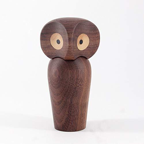 feiren Bonito diseño de búho, pájaros y pájaros, decoración para el hogar, sala de estar, estantería de madera natural en miniatura, regalos populares para niños (color: búho de nuez)