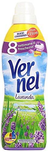 Vernel - Suavizante concentrado de lavanda, 40 lavados, 750 + 250 ml, 12 unidades