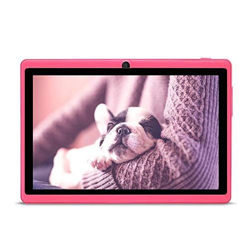 JINYJIA 7 Pollici Tablet PC, Google Android 4.4, Quad Core, WiFi, Bluetooth, Per Bambini e Adulti, Rosa