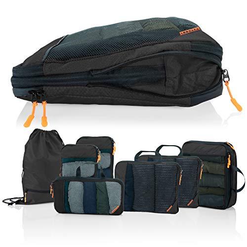 Packwürfel Kompression für Koffer und Rucksack [4-teilig] mit Packbeutel - mehr Platz im Koffer oder Backpack durch Kompression – Packing Cubes Kompression für Deine Wander Ausrüstung (schwarz)