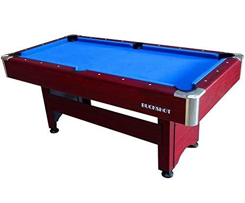 Buckshot Billardtisch 6ft Winner Braun - 183x90x79 cm - 6 Fuß Pool Billard - Kugelrücklauf - Tischbillard mit Zubehör - Billard Tische 70kg