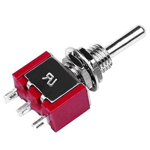 JVSISM 2pzs AC 250V 2A 120V 5A SPDT Interruptor de palanca de momentaneo de 3 posiciones Encendido/Apagado/Encendido