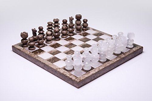 Astro Gallery of Gems Small Brown and White Onyx Chess Set - 3. 1 pounds