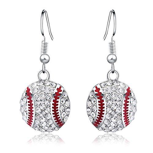 KFYU Voller Diamant Diamant Runde Baseball Ohrringe Temperament Ohrringe Baseball