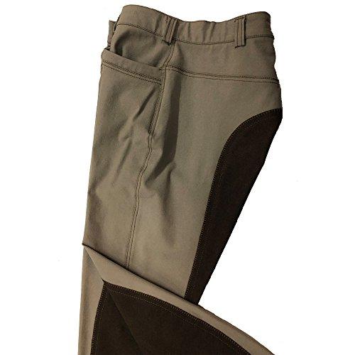 CATAGO Damen Reithose 1242, Ganzbesatz, Reißverschlusstasche, bi-elasic, Microfibre, Superpassform (beige, braun, 76)