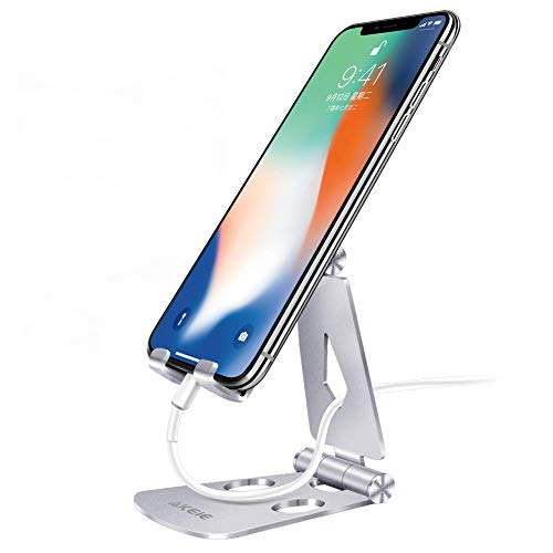 AKEIE 2019新型 スマホスタンド アルミ 完全折り畳み式 軽量 小型 270度角度調整可能 「4~10インチ対応」 携帯スタンド アイフォーン充電スタンド iPhoneスタンド 卓上 携帯便利 滑り止め付き iPhone/iPad/Samsung/Galaxy/Sony/Nexus対応 日本語包装ケース(シルバー)