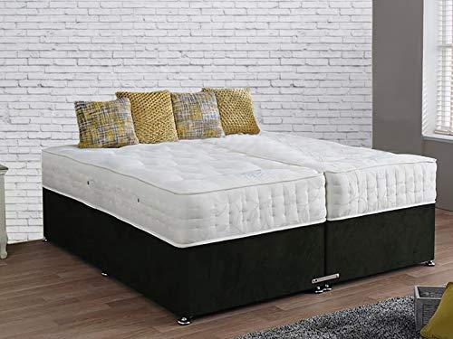 sleepkings ZIP AND LINK BED DIVAN BLACK BED SET+ 1500 POCKET SPRUNG MATTRESSES FOR...