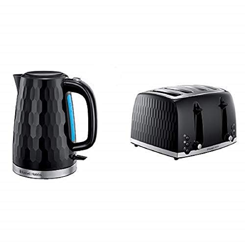 Russell Hobbs Honeycomb Kettle and 4 Slice Toaster, Black