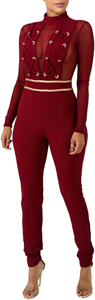 ThusFar Womens Long Sleeve Bodycon Limited price sale Today's only Patchwo Sexy Jumpsuits - Mesh