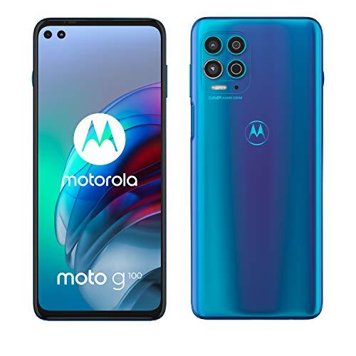 Moto g100 (Pantalla de 6.7', procesador Qualcomm Snapdragon 870 5G, cámara de 64MP, batería de 5000 mAH, Dual SIM, 8/128GB, Android 11), Azul