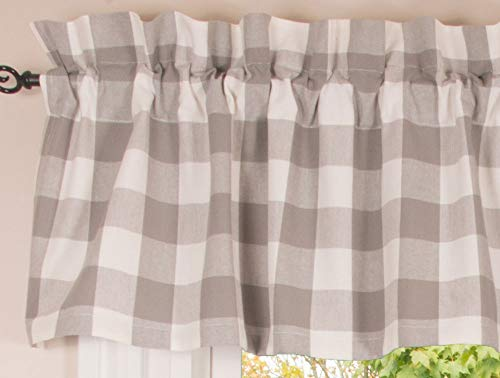 """Buffalo Check Gray and Cream 72"""" x 14"""" Unlined Cotton Valance by Primitive Home Decors"""