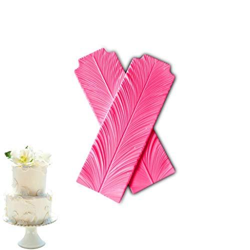 YYQX Fondant siliconen mallen, 2 sets van veren laat Fondant Cake decoratieve vorm voor het maken van klei, ambachten, Gummy Candy -11.5