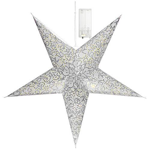 com-four® Leuchtstern in 3D mit LED Beleuchtung in warm-weiß zum Aufhängen, hochwertiger und Stabiler Papierstern in silberfarben (01x Stern - silberfarben)