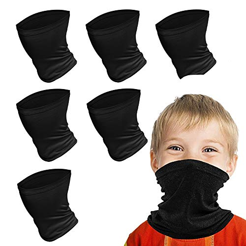 Kids Face Scarf Mask, 6-14 Years Kids Cooling Neck Gaiter Scarf, Breathable Bandana Face Mask for Boys Girls,6 PACK (Black)