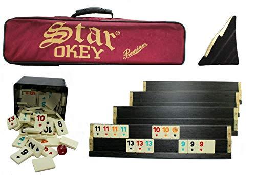 Premium Okey Takimi mit Tragetasche und Melamin Spielsteine mit Kunststoffbox Ahsap schwer und stabil Takımı Rummy Set (Dunkelbraun)