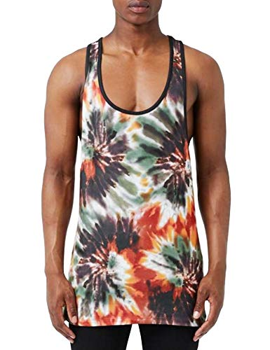 URRU Men's Longline Tank Tops with All Over Floral Printed Casual Graphics Tees Sleeveless T-Shirt Tie Dye XL