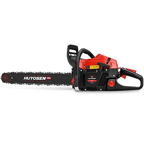 HUYOSEN PRO Professional Gas Chainsaws 65cc 2-Stroke Gas Powered Chain Saw 24-Inch Chainsaw Chain with Tool Kit for Cutting Forest Wood Garden Trimming Tools
