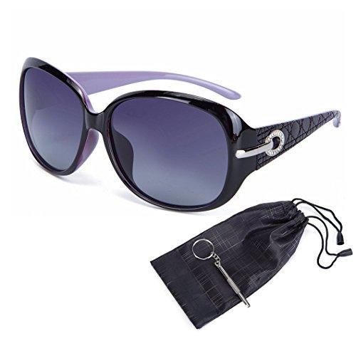 OYMI Women's Latest Style Oversized Polarised Sunglasses 100% UV Protection Set with Rhinestones (Purple Frame Grey Lens)