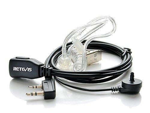 Retevis 2 Pin PTT Mic Covert Acoustic Tube Earpiece Headset for Kenwood PUXING Baofeng UV-5R UV-5RA 888S Retevis H777 RT7 RT21(1 Pack)