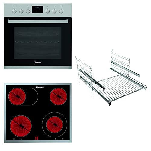 Bauknecht HEKO P300 Herd-Kochfeld-Kombination/Glaskeramik-Kochfeld (60 cm)/ Pyrolyse-Selbstreinigungssystem/Slow Cooking/Backauszug mit 2 Ebenen