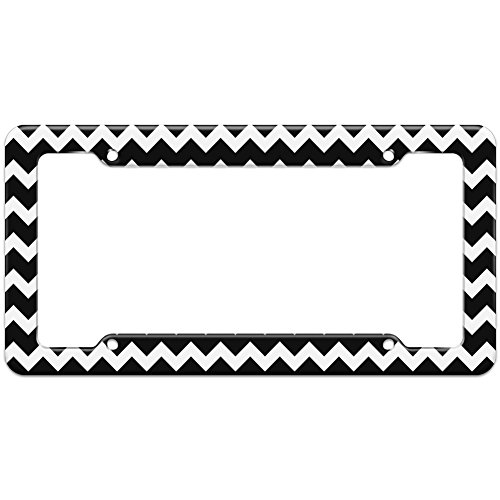 Graphics and More Blank Chevrons Black Pattern License Plate Frame